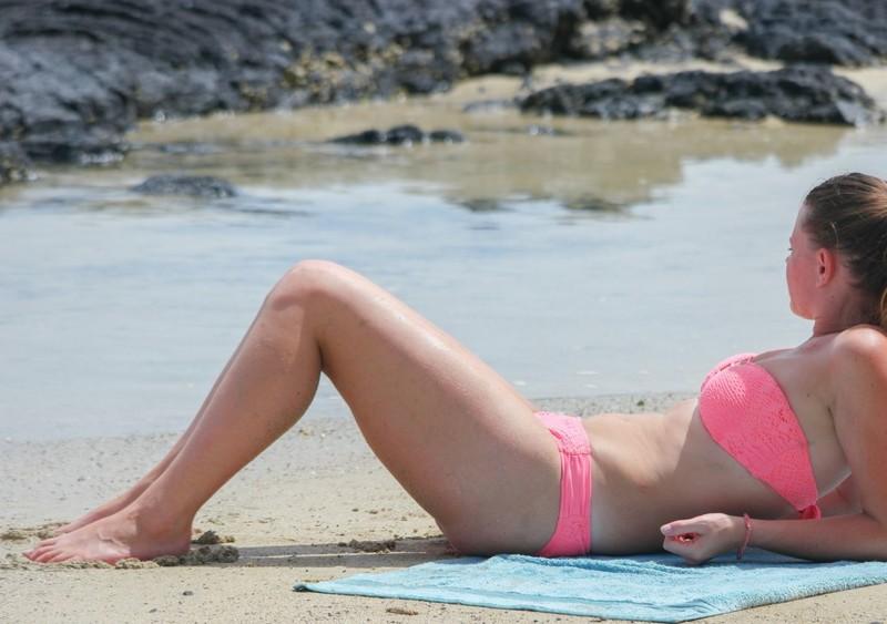 lovely babe in pink bikini