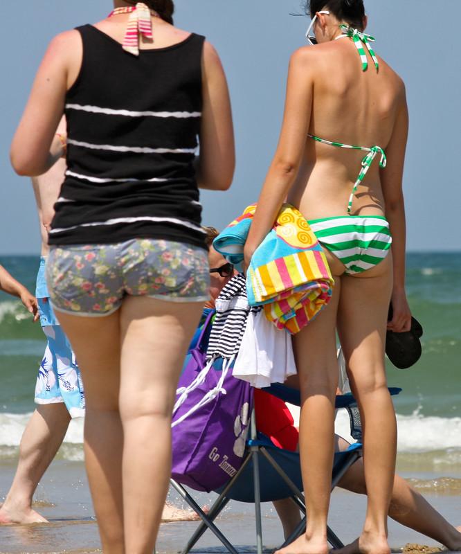 slender cutie in Green striped bikini