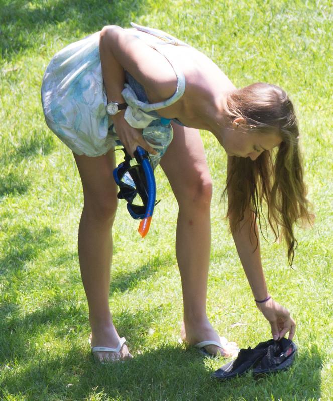 diver girl in blue bikini