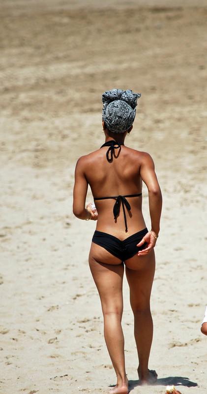 ebony beach lady in black bikini