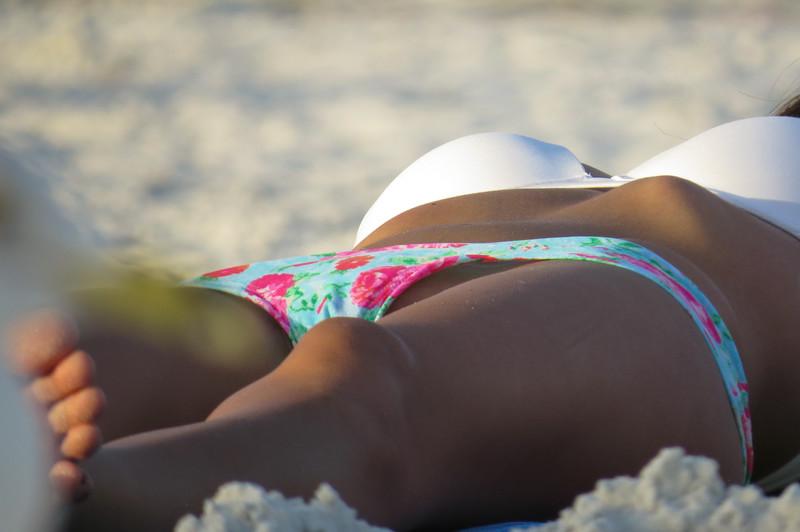 cute skinny girl in candid bikini