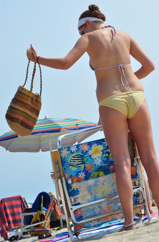 handsome beach lady in bikini