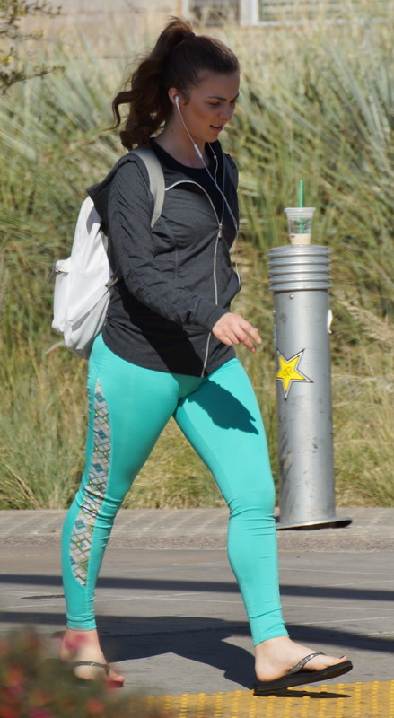 college babe in green leggings