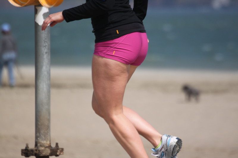 jogger milf booty in purple yogashorts