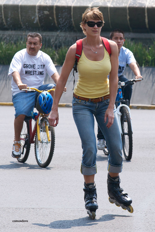 roller blade chick in pretty jeans