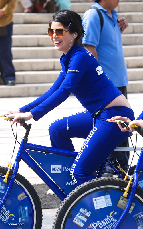 promo girl on the bicycle