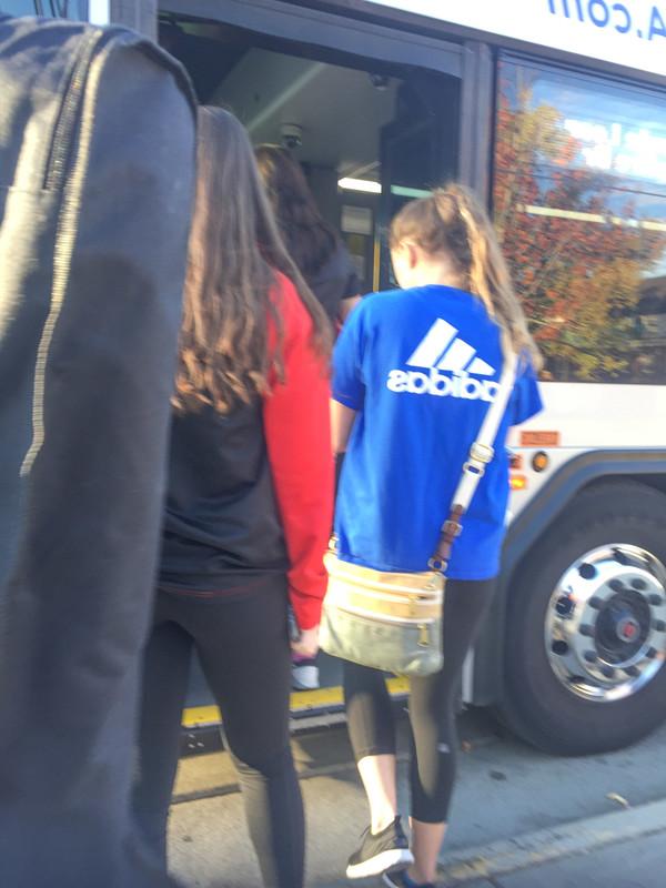bus stop girls in leggings