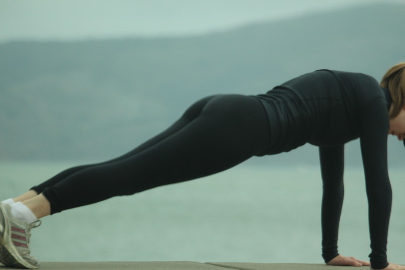 fitness exercise babe in black sexy leggings