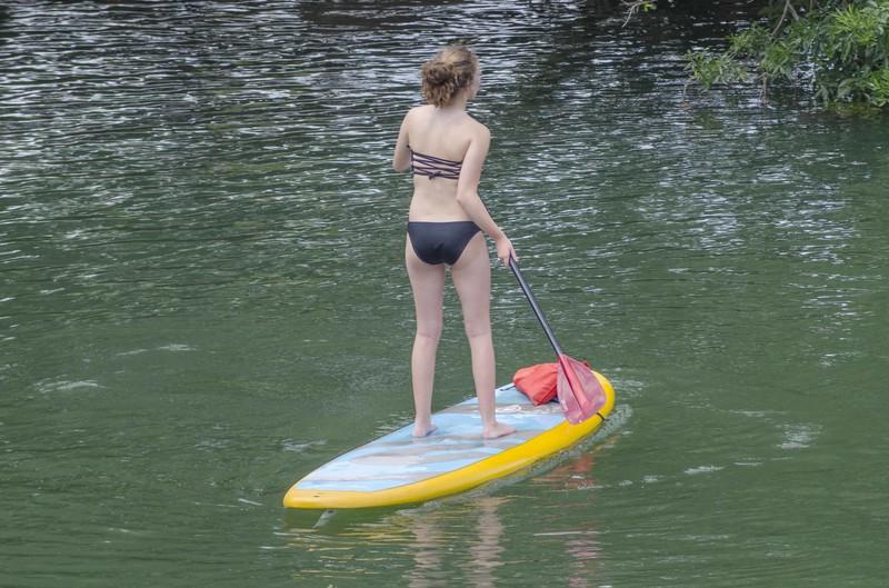 bikini kayak teens on the lake