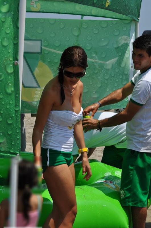naughty promo girls in green shorts