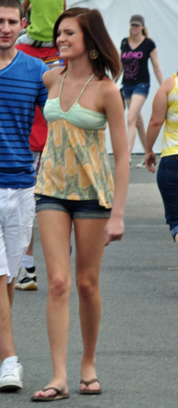 charming babe in denim shorts