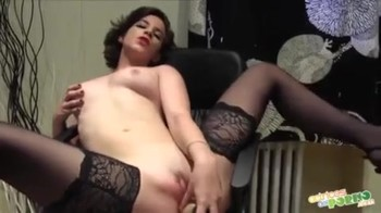 Brainwashed brunette in the office dances striptease and masturbates on the table in front of a guy