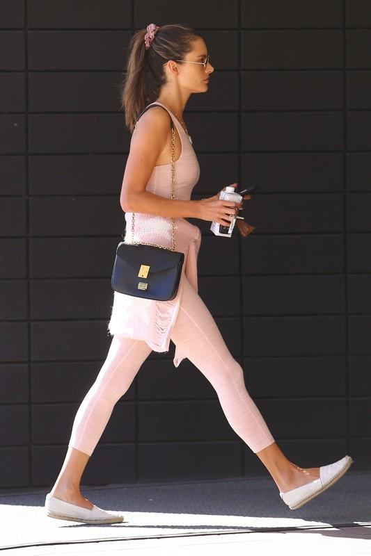 pretty milf Alessandra Ambrosio in pink gym uniform