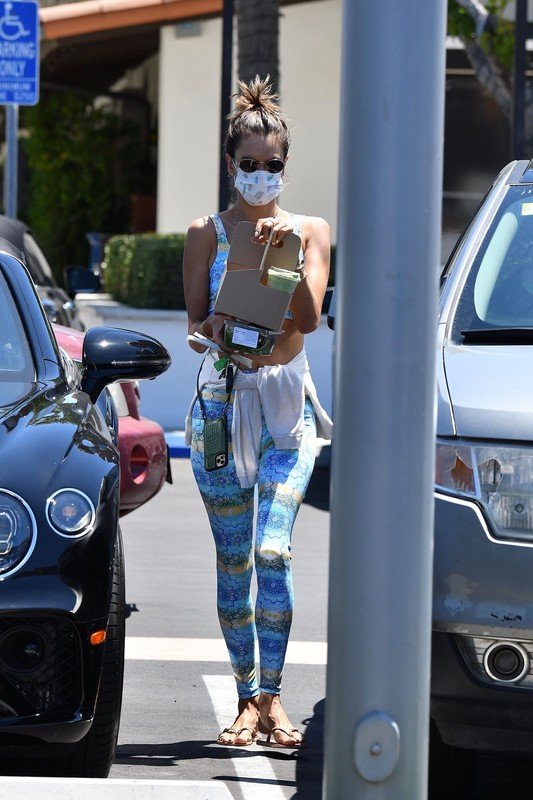 handsome milf Alessandra Ambrosio in pretty workout outift