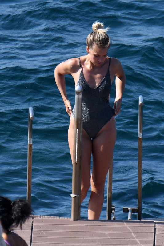 lovely babe Ema Kovac in shiny 1 piece swimsuit