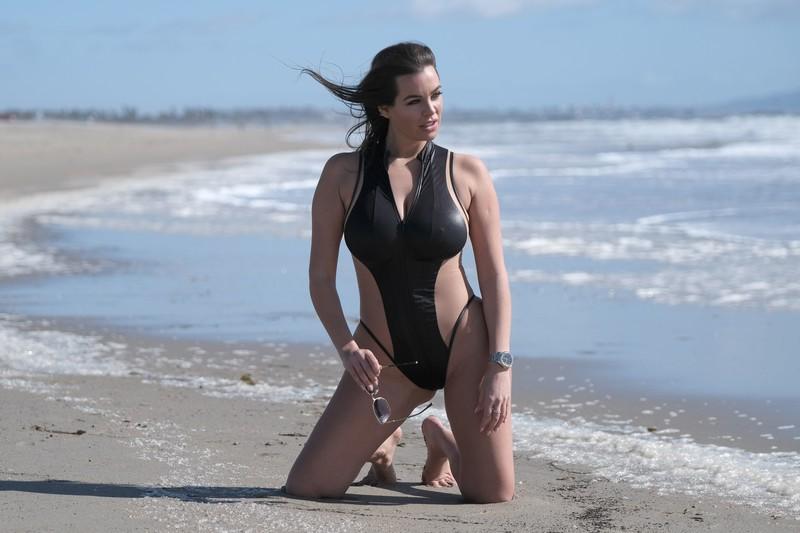 austrian milf Nadine Mirada in 1 piece swimsuit