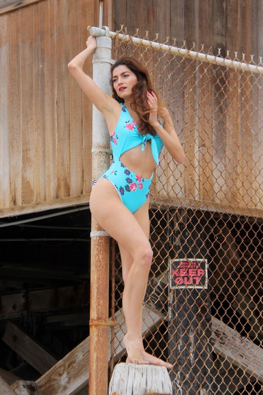 charming lady Blanca Blanco in 1piece swimsuit