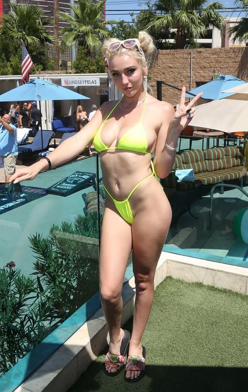 adult film actress Kendra Sunderland in neon bikini
