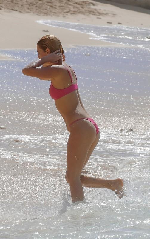 graceful babe Pixie Geldof in red bikini
