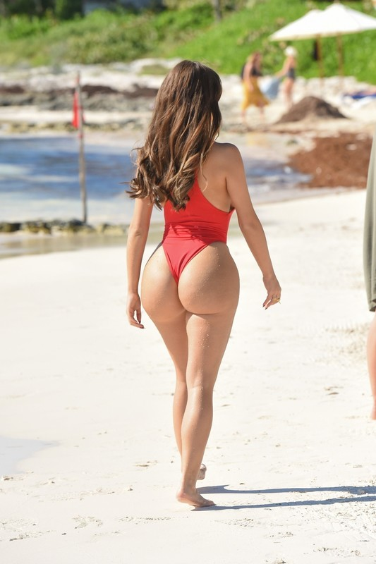 stunning babe Demi Rose in red 1 piece swimsuit