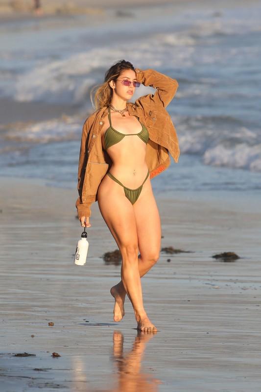 beach hottie Bridgette Audrey in sexy green bikini