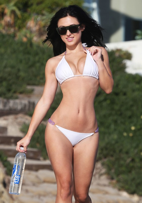 beautiful chick Stefanie Knight in white bikini